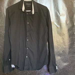 Zara- Black Slim Fit Button up Shirt size Small